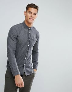 Tom Tailor Denim Shirt In Washed Gray - Gray