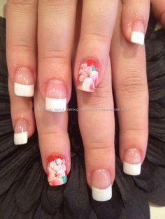 White French polish tips with hand painted one stroke flower nail art