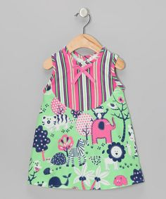 Take a look at this Pink & Green Animal Candyland Dress - Infant by CyBaby on #zulily today!