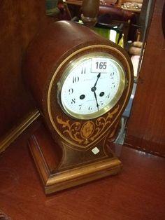 Edwardian Inlaid Mahogany Balloon Case Mantel Clock