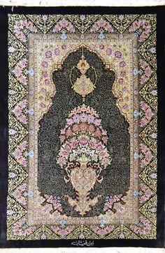 Qum Pure Silk Persian Rug Black Goldani Vase Design Masterpiece Item#: HF-8292  Size: 118 x 80 (cm)      3' 10 x 2' 7 (ft)  by the weaver name Shayesteh