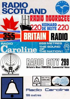 Collage of stickers from various offshore radio stations