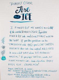 Robert Oster Fire & Ice Writing Sample