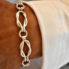 Love Knot  Sailors Knot Sterling Silver link bracelet.