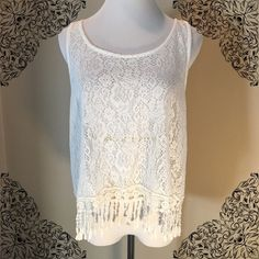 BOGO FREE Kaitlyn Fringe knitted Tank Top Off white/cream color fringe knitted tank/crop top is adorable with shorts, over a swimsuit, and more. Size M.Buy one get one free of equal value or less any items with symbol ***Bundle Discount Doesn't Apply Tops Tank Tops