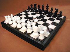 14 Chiellini Alabaster Black / White Chess / Checkers Set #boardgames