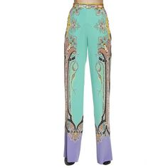 Pants Trouser Women ($614) ❤ liked on Polyvore featuring pants, green, silk trousers, etro pants, green trousers, white trousers and green silk pants