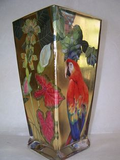 Flared Square Vase Red Parrot with Tropical Flowers on Gold by Scott Potter