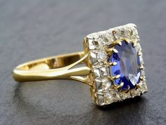 Antique Sapphire Ring - Victorian Belle Epoque Sapphire & Diamond 18ct Gold Square Cluster Engagement Ring. neato!