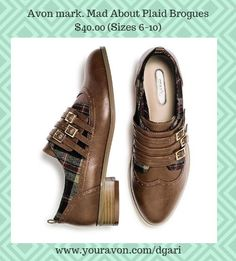 Borrowed from the boys, these mark.Brogues have a touch of tartan. https://www.avon.com/product/mad-about-plaid-brogues-56803?rep=dgari #brogue #shoes #avon #fashion