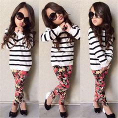 $8.76 (Buy here: https://alitems.com/g/1e8d114494ebda23ff8b16525dc3e8/?i=5&ulp=https%3A%2F%2Fwww.aliexpress.com%2Fitem%2F2016-Baby-Kids-Clothes-Striped-T-Shirt-Flower-Legging-Pants-Children-2pc-Sets-Fashion-Girls-Clothes%2F32595258945.html ) 2016 Baby Kids Clothes(Striped T Shirt +  Flower Legging Pants) Children 2pc Sets Fashion Girls Clothes Full Sleeve Coat for just $8.76