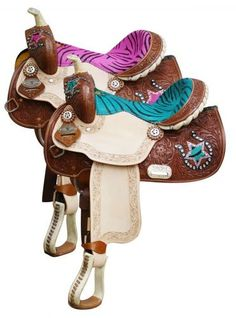 Don't really like the bright colored zebra,but this would look awesome on a Barrel Racing Horse for a kid!