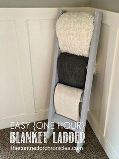 Easy One Hour Rustic Blanket Ladder