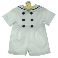 NEW Gordon and Company White Pique Button On Sailor Shorts Set with Navy Trim $75.00