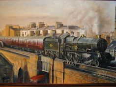 Helen Warlow (@HWarlow)   Twitter Great painting of GWR Collett King class locomotive heading it's train over the bridge whilst a bus passes beneath