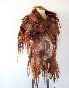 Felted scarf  brown woodland   raw wool curles rustic von galafilc, $107.00