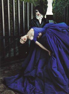 """Dita Von Teese and Marilyn Manson by Steven Klein  US Vogue March 2006   """"The Bride Wore Purple"""""""