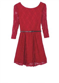 Long-Sleeve Lace Skater Dress