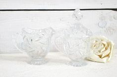 Vintage Crystal Cream and sugar dish, coffee tea accessories, serving dishes, cut crystal table cream and covered sugar bowls, vintage decor
