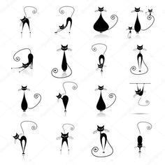 Herunterladen - Schwarze Katze Silhouette Sammlungen — Stockillustration #1356219