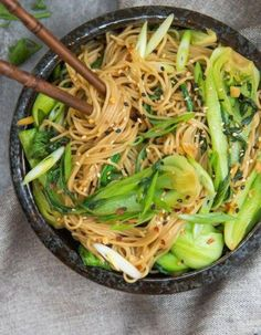 If your looking for a quick 15 minute dinner tonight look no further! These sesame ginger noodles with bok choy will be your new favourite go to dish. I'm a big advocate of food prep. Noodle Recipes, Veggie Recipes, Asian Recipes, Healthy Dinner Recipes, Vegetarian Recipes, Cooking Recipes, Ethnic Recipes, Easy Bok Choy Recipes, Lunches And Dinners