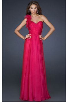 A-Line One-shoulder Flower(s) Evening Dresses