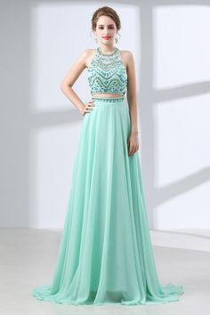 a6ff5966 Only $155, Prom Dresses Two Piece Long Teal Prom Dress Sparkly With Crystal Halter  Top