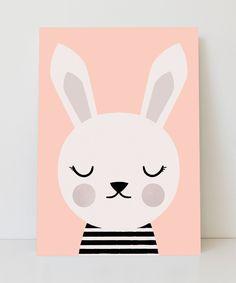 Lámina conejita con fondo rosa