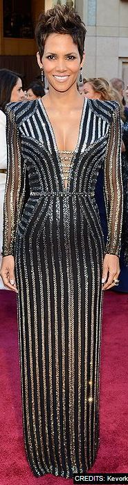 Halle Berry at the 2013 Oscars in Versace - a perfect dress to represent the Bond Girls