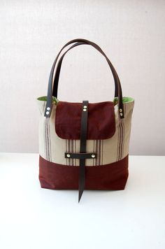 Waxed cotton canvas tote bag with flap and leather by ForestBags