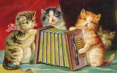 Accordian playing kittens vintage postcard