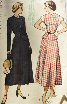 Vintage Sewing Pattern 1940s  Two Piece Peplum Dress-Detachable Collar and Cuffs Size 18 Simplicity 2700. $25.00, via Etsy.
