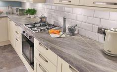 Grey Slate Effect worktop Shaker Style Kitchens, Shaker Kitchen, New Kitchen, Kitchen Ideas, Ivory Kitchen Cabinets, Kitchen Diner Extension, Kitchen Utilities, Beautiful Kitchens, Kitchen Styling