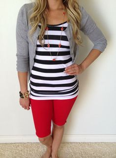Nice shorter sleeve cardigan to go over striped top.  Cute colors.