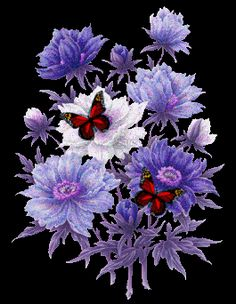 gifs papillons - Page 2 Beautiful Butterflies, Love Flowers, Purple Flowers, Beautiful Flowers, Purple Butterfly, Image Couple, Gifs Lindos, Virtual Flowers, Glitter Gif