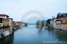 Historical houses on the Brenta river in the old town of Bassano del Grappa, Veneto, Italy.