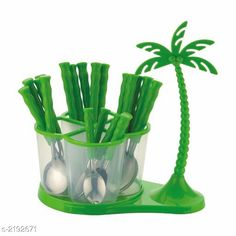 Cutlery Deluxe Cutlery Set with Coconut Tree Material : ABS Plastic & Stainless Steel Size :  Free Size Description :  It Has 24 Pieces Of Deluxe Cutlery Set with Coconut Tree Country of Origin: India Sizes Available: Free Size *Proof of Safe Delivery! Click to know on Safety Standards of Delivery Partners- https://ltl.sh/y_nZrAV3  Catalog Rating: ★4.3 (1186)  Catalog Name: Lovely Essential Cutlery Set Vol 1 CatalogID_291287 C135-SC1661 Code: 615-2192671-