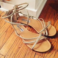 Steve Madden Gladiator Sandals Gold/Champagne gladiator sandals from Steve Madden - worn once - perfect condition - zipper back - perfect for any occasion: formal or informal. This item is up on other sites as well so hurry before someone else somewhere else gets them ;D!!!!! Steve Madden Shoes Sandals