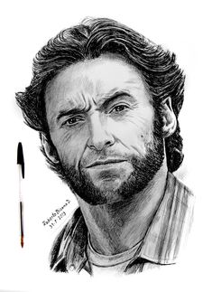 Art by Roberto Bizama Hugh Jackman Portrait Sketches, Pencil Portrait, Portrait Art, Art Drawings Sketches Simple, Pencil Art Drawings, Avengers Drawings, Ballpoint Pen Art, Wolverine Art, Celebrity Drawings