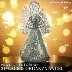 3D Lace and Organza Angel (PR2115) from www.emblibrary.com