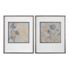 Shadow Florals Prints, Set Of 2 Uttermost Wall Art Wall Art Home Decor