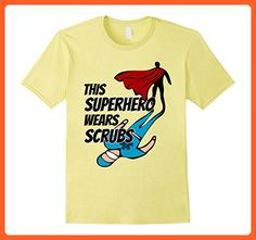 Mens This Superhero Wears Scrubs Shirt 2XL Lemon - Superheroes shirts (*Partner-Link)