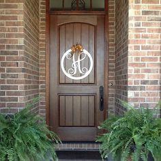 Monogram Door Hanger, Wood Front Door Wreath, Initial Door Hanger, Many colors choices. Front Door Design, Front Door Colors, Front Door Decor, Wreaths For Front Door, Front Porch, Front Entry, Wooden Monogram Letters, Nursery Monogram, Monogram Wall