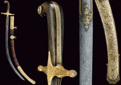 """Ottoman (Algeria) kilij, third quarter of the 19th century, damascus steel blade, at the base golden inscriptions and decorations, gilt brass cross-hilt richly engraved with bas-relieved floral motifs, horn grip scales, frame with dedication """"5. Mais 1869 Les abonnés du theatre Alges à Ben Aben""""; wooden scabbard covered with reptile skin, with gilt brass mounts decorated en suite, dimensions: length 90.5 cm."""