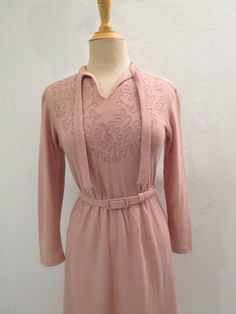 Dusty Pink Braided Dress  1970s by LouisaAmeliaJane on Etsy, $42.00