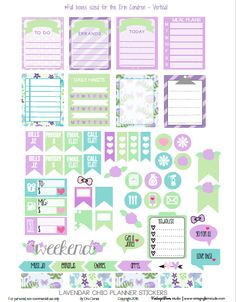 Free Printable Lavender Chic Planner Stickers | Vintage Glam Studio