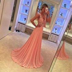 Pink lace prom dresses,A-line chiffon long prom dress, 2016 evening formal gowns ,wedding dresses