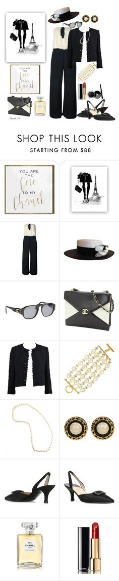 """""""Chanel (3rd place in A-Z (C)lassy contest) New Years Day! (2nd place in Total CH?N?? Look)(8th place in Hats contest)"""" by freida-adams ❤ liked on Polyvore featuring Oliver Gal Artist Co. and Chanel"""