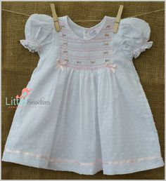 Beautiful Hand Smocked Spot Voile Baby Dress por LittleSmock                                                                                                                                                                                 More
