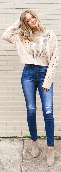 Need outfit inspiration?! Pair your favorite chunky cable knit sweater with your favorite distressed denim for the cutest look! #fashion #ideas #outfits #style